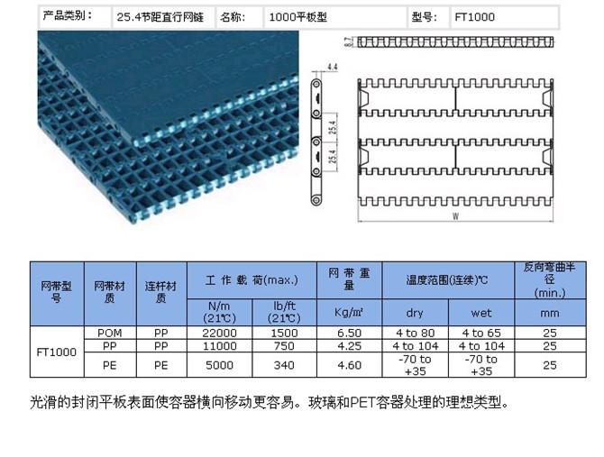 1100平板网链