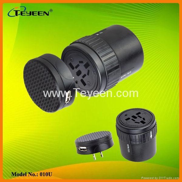 旋转式全球通USB多功能转换插座DY-010U