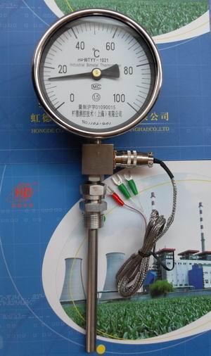 虹德WTYY-1021-X液体压力式电接点温度计