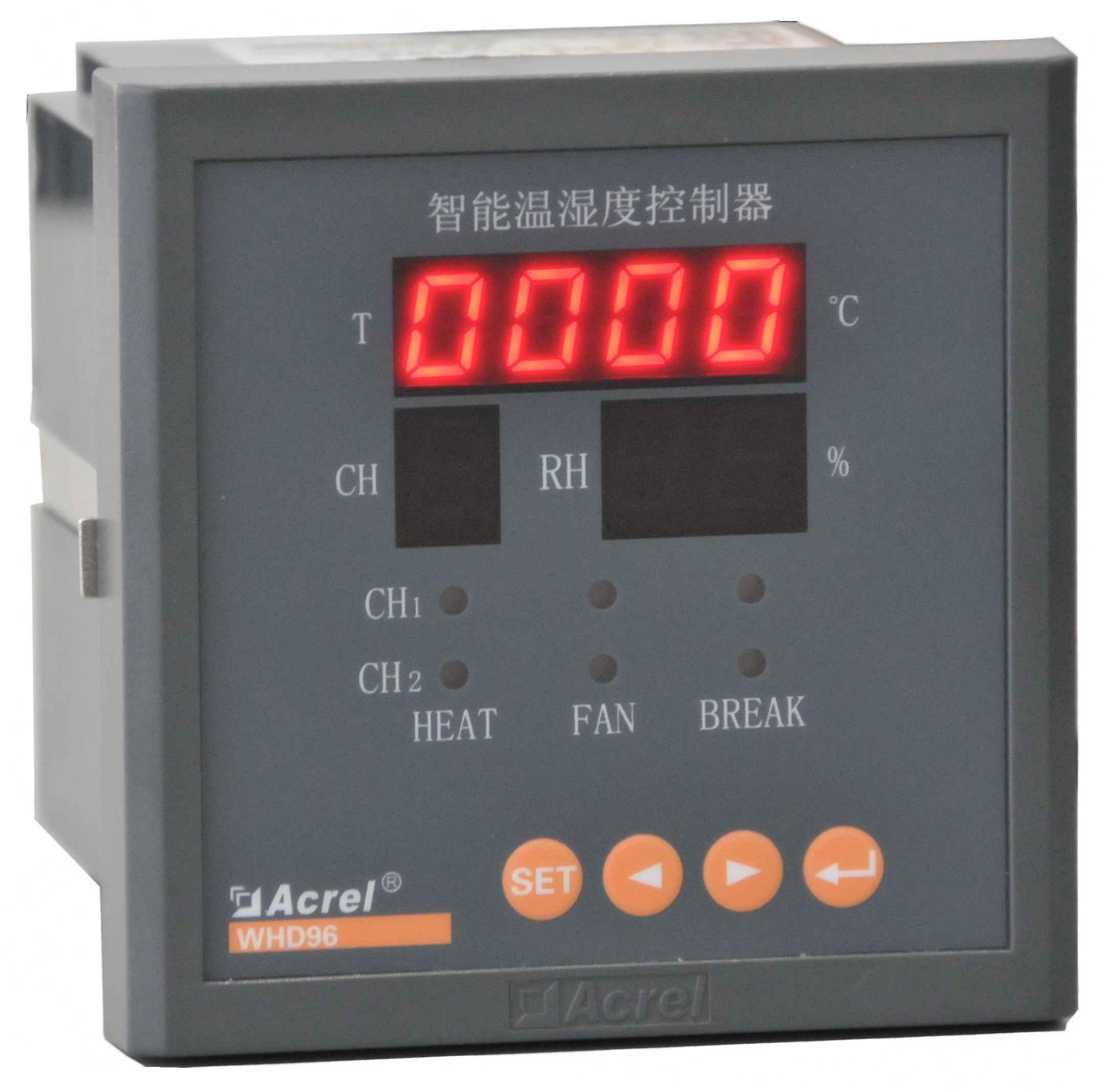 WHD系列智能型温湿度控制器 3.2.1 型号说明    说明:   1、WHD48、WHD72、WHD90R最多可接1路温湿度传感器;   2、WHD96最多可接2路温湿度传感器;   3、WHD46最多可接3路温湿度传感器;   4、每一路传感器对应二组控制输出接点(无源),分别接加热器和风扇,加热器用于升温或去湿,风扇用于降温;   5、RS485通讯功能、报警输出功能、变送功能只能三者选一;   6、传感器与控制器之间的连接线长度最大不得超过20米。 3.