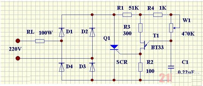 可控硅交流调压器由可控整流电路和触发电路两部分组成,其电路原理图如下图所示。 从图中可知,MDK55A 二极管D1D4组成桥式整流电路,双基MDK55A 极二极管T1构成张弛振荡器作为可控硅的同步触发电路。当调压器接上市电后,220V交流电通过负载电阻RL经MDK55A 二极管D1D4整流,在可控硅SCR的A、K两端形成一个脉动直流电压,该电压由电阻R1降压后作为触发电路的直流电源。在交流电的正半周时,整流电压通过R4、W1对电容C充电。MDK55A当充电电压Uc达到T1管的峰值电压Up时,T1管由截止