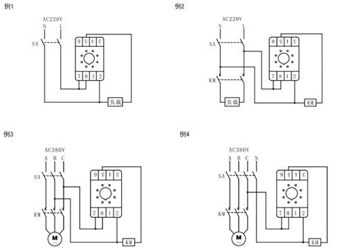 按照继电器罩壳标签上的接线图,参考第八条电路举例将产品接入控制